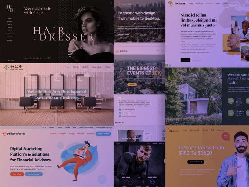 Montage of portfolio site designs