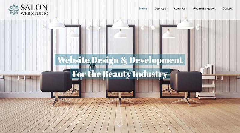 A sample beauty salon website design, featuring salon chairs