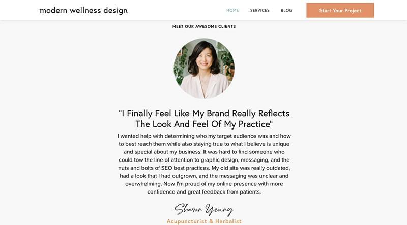 A demo wellness site design