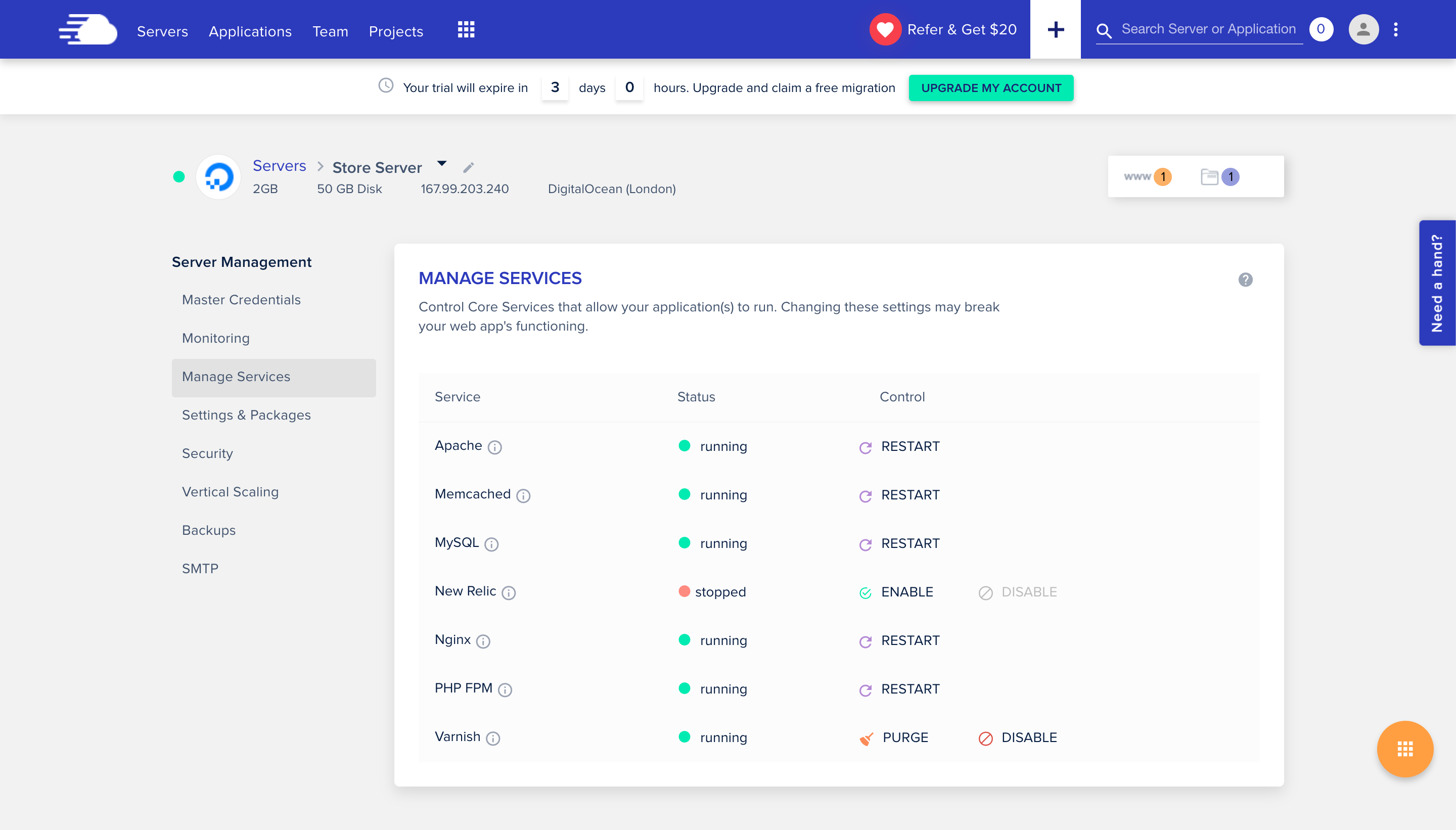 Manage Services Page