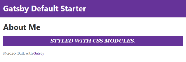About page styled with CSS Modules
