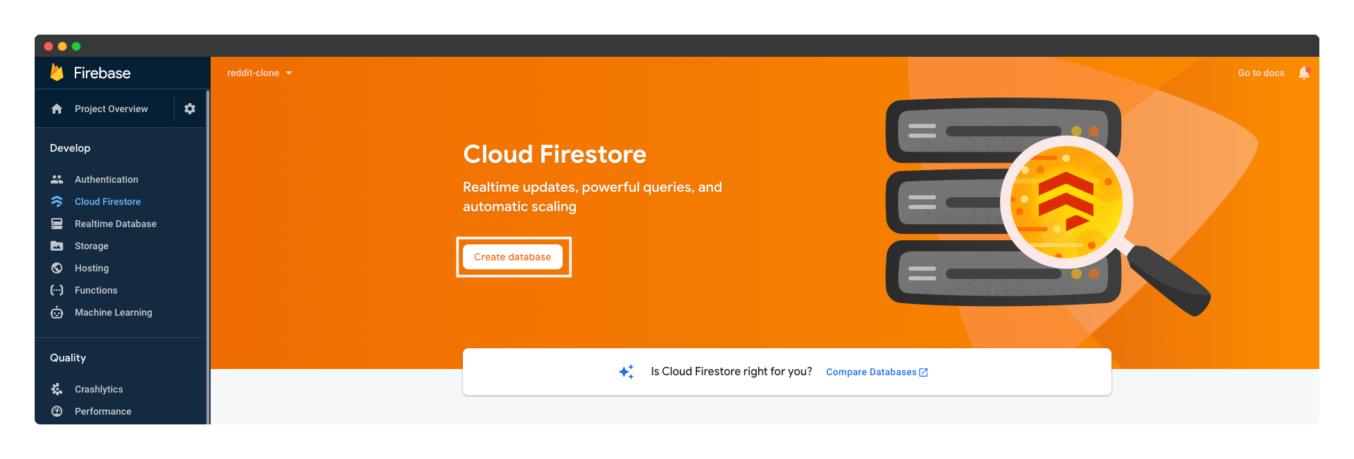 Creating a new Firebase Cloud Firestore