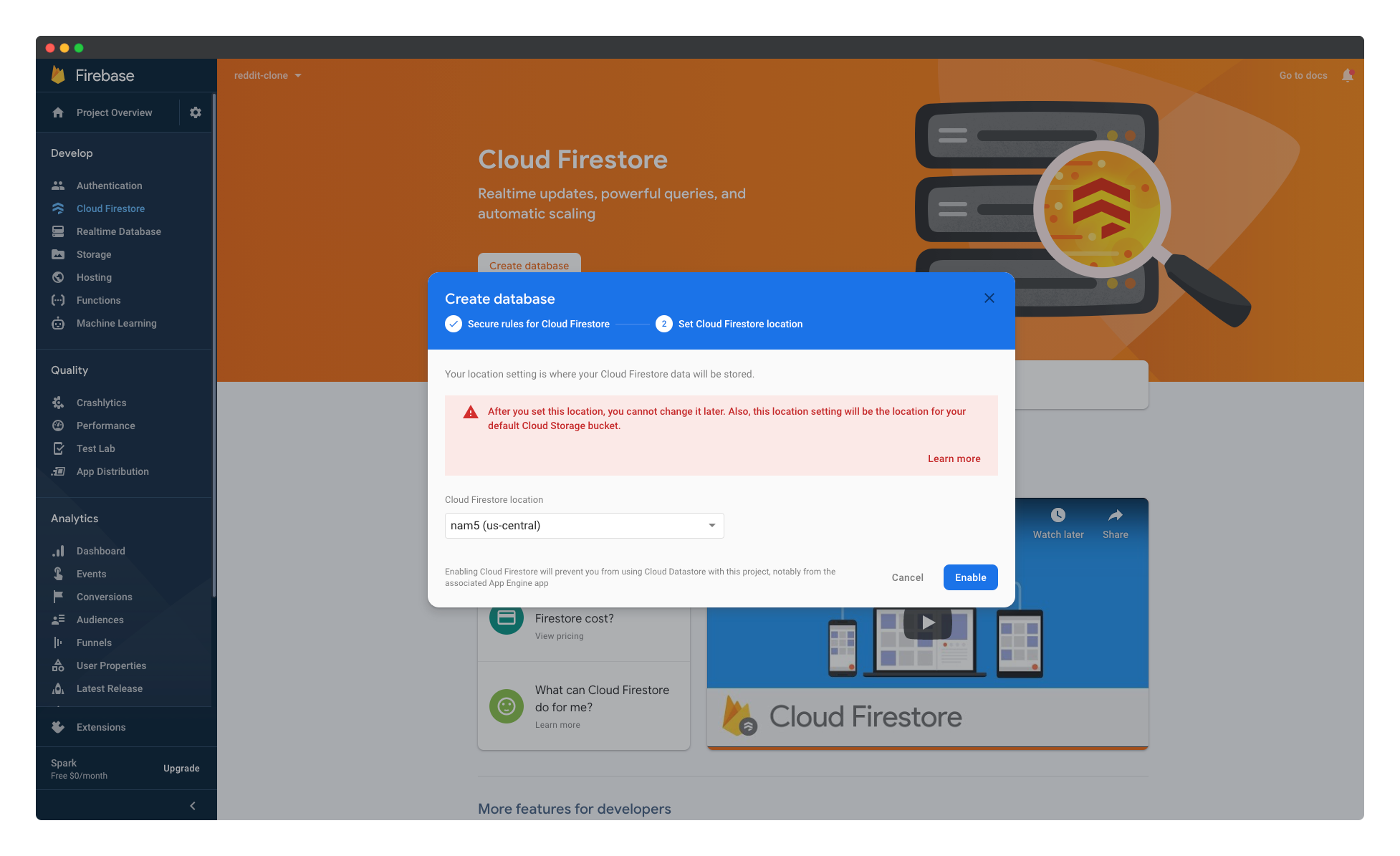 Selecting the location of the Firebase Cloud Firestore