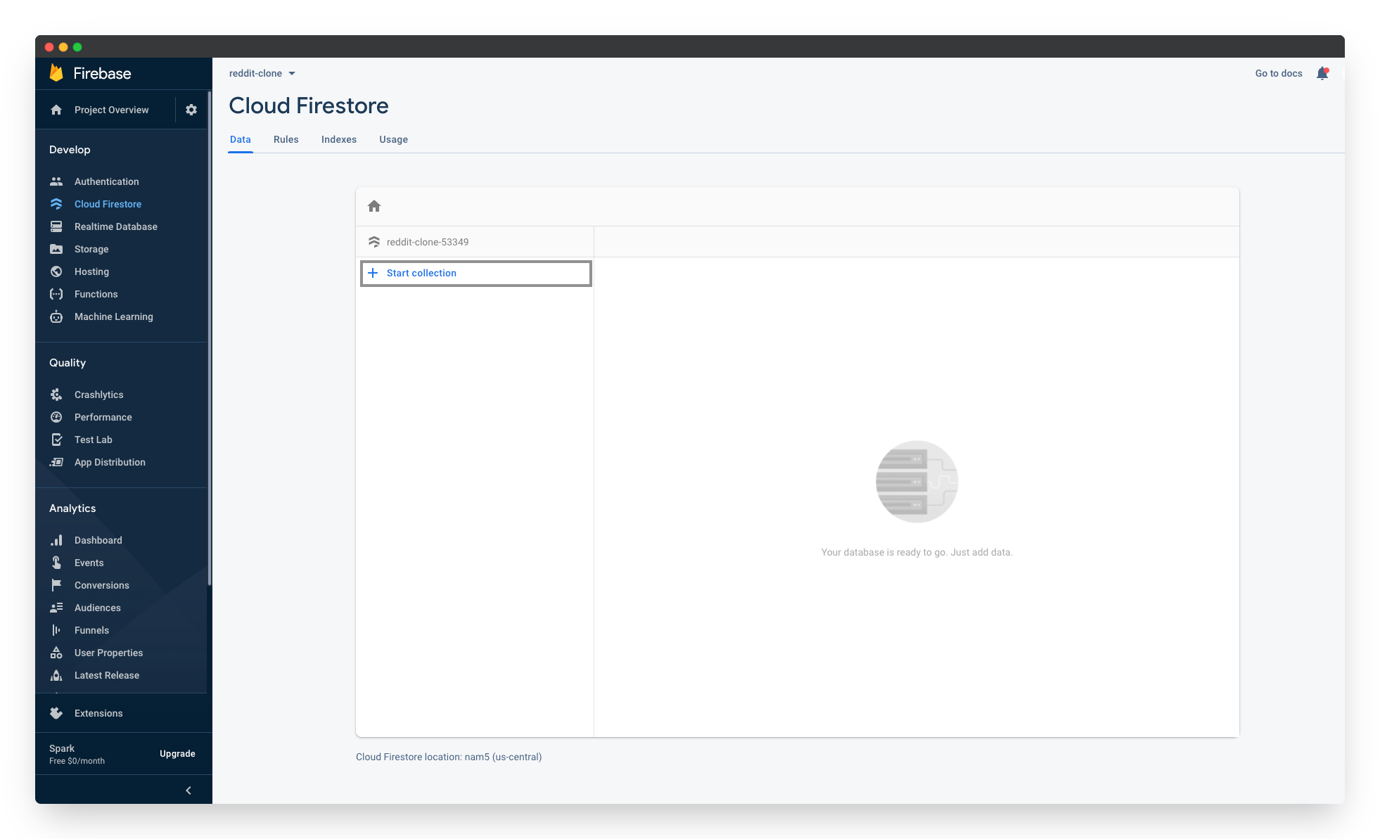 Adding a new collection to the Firebase Cloud Firestore:Step 1