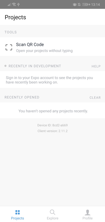 Expo client app