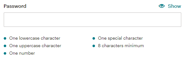 the Mailchimp password field, with instructions below