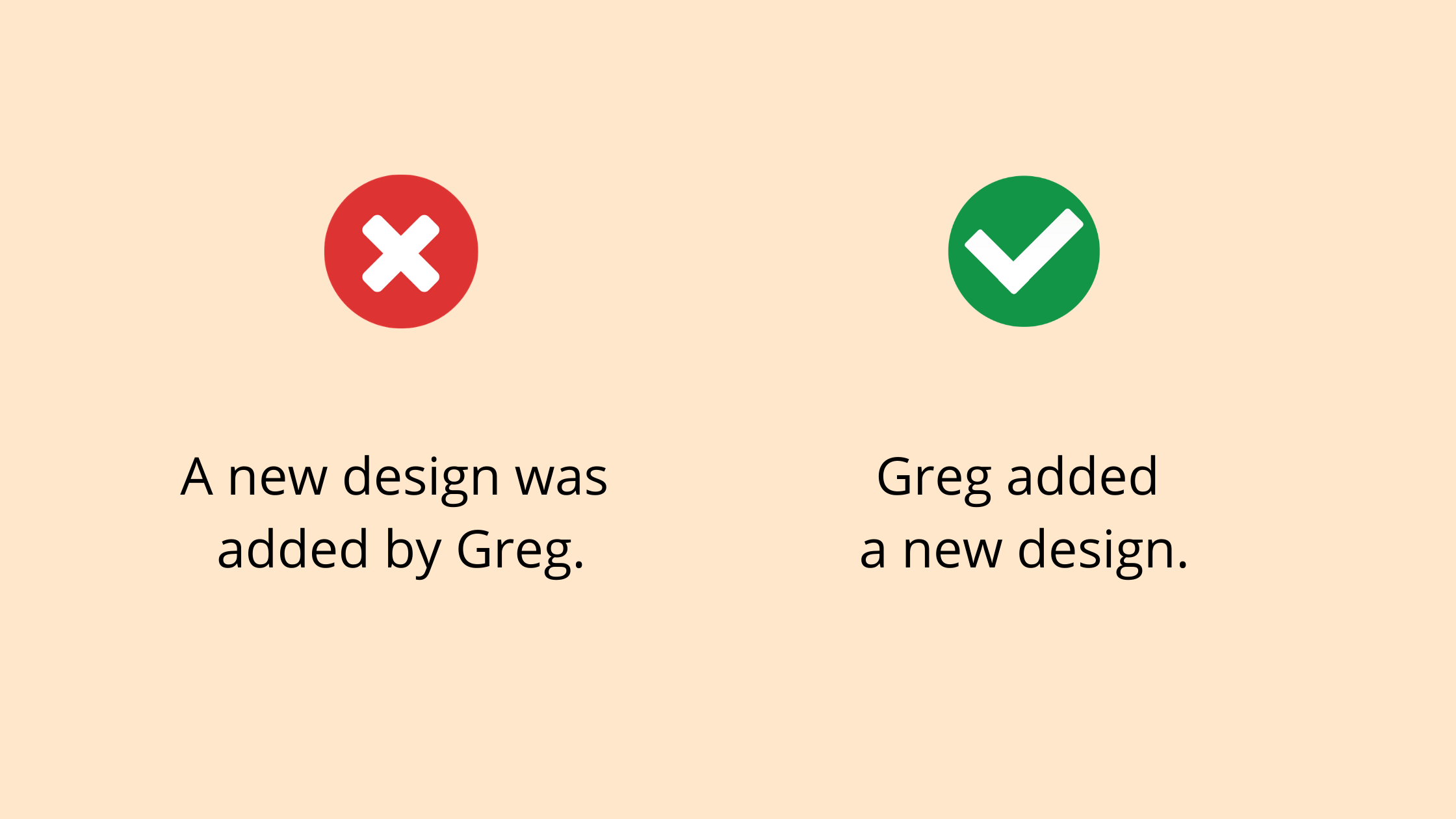A new design was added by Greg, vs Greg added a new design