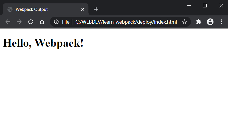 Webpack Browser Message Displayed