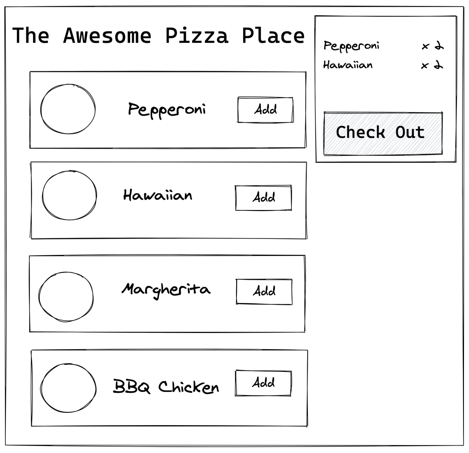 Mock-up of a pizza shop SPA