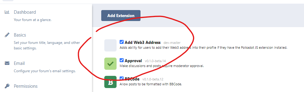 Adding an extension: add web3 address, Approval, BBCode