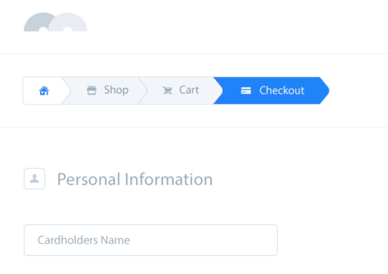 A breadcrumb bar showing three steps to checkout