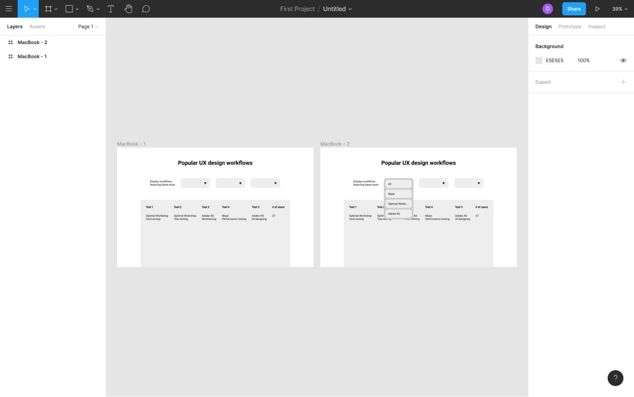 Creating transition with Figma