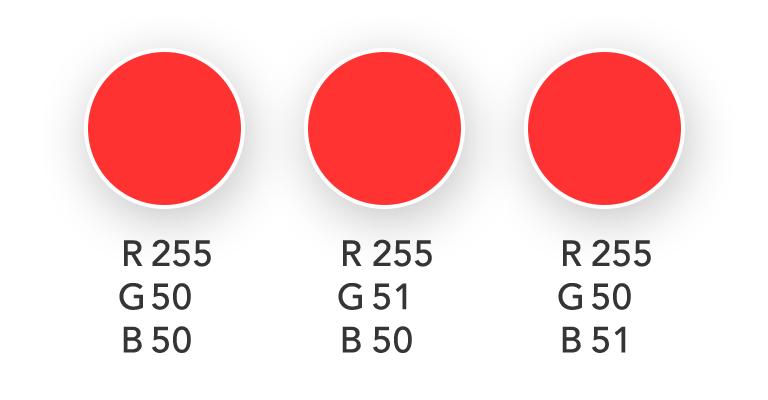 تفاوت این سایه های قرمز برای چشم انسان قابل تشخیص نیست