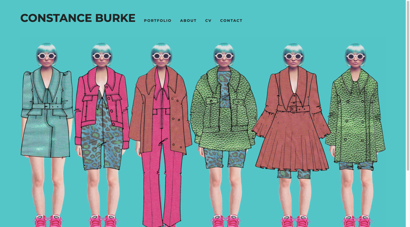 A screenshot of the Constance Burke website: six women wearing an assortment of clothes