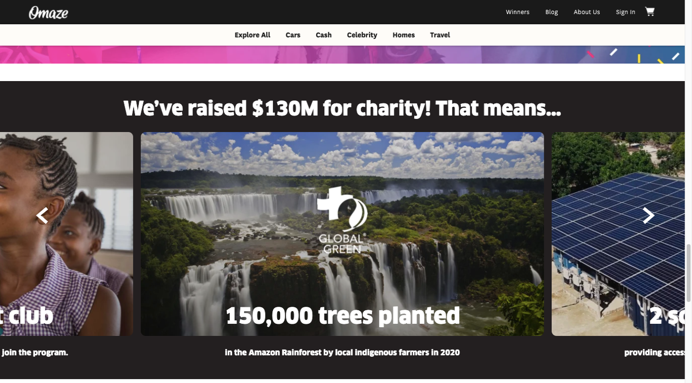 A screenshot of the Omaze website