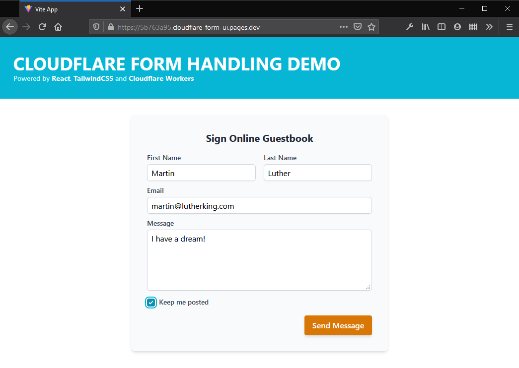 cloudflare form ui deployed