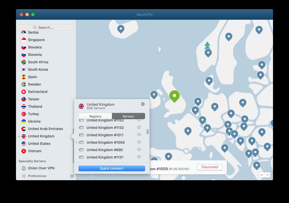 Screenshot of NordVPN