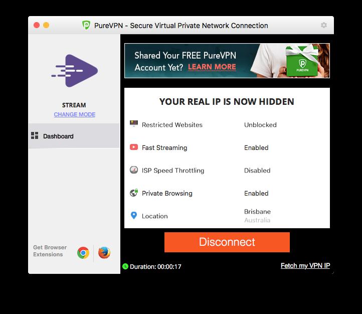 Screenshot of PureVPN