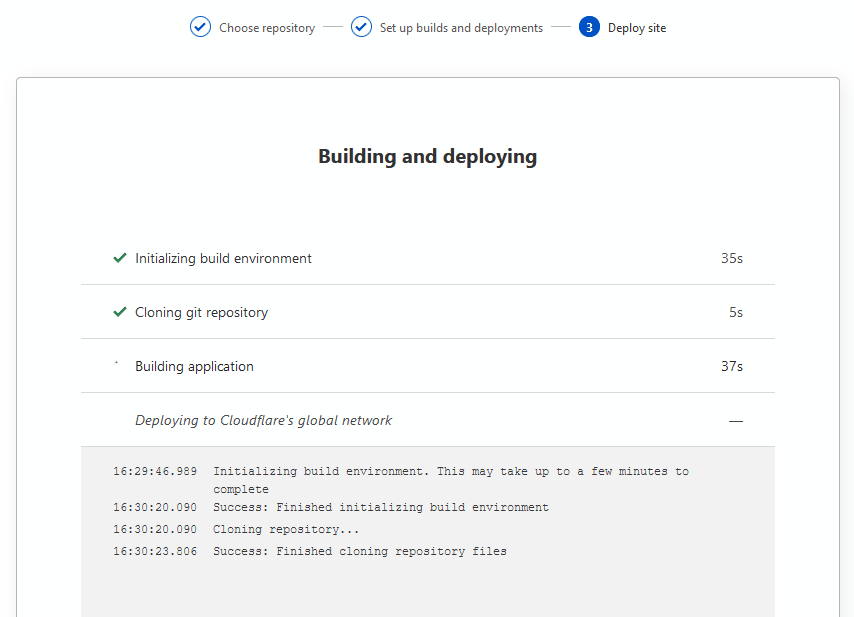 Cloudflare Pages build and deploy status