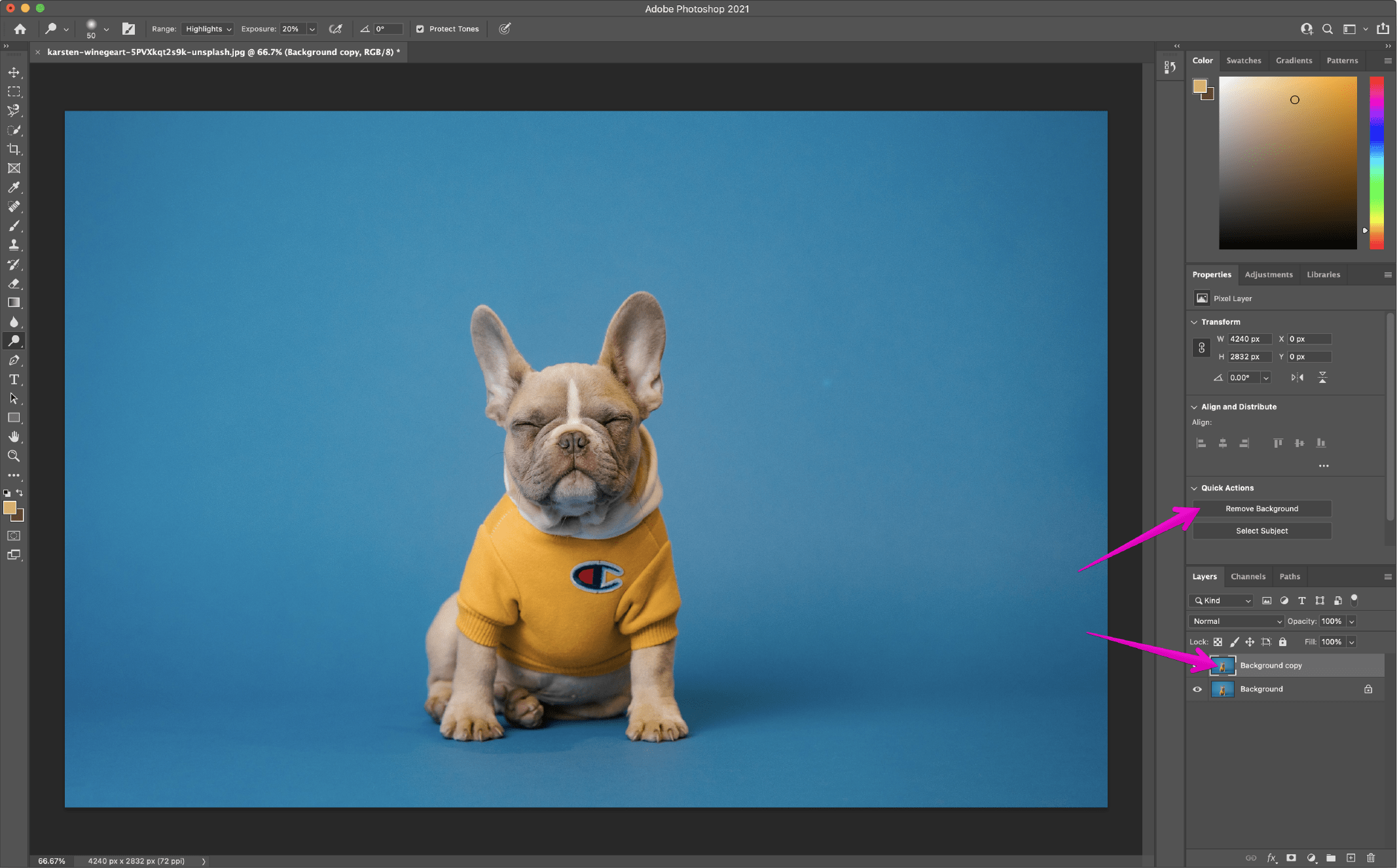 Remove Background in Photoshop using the Quick Action 1