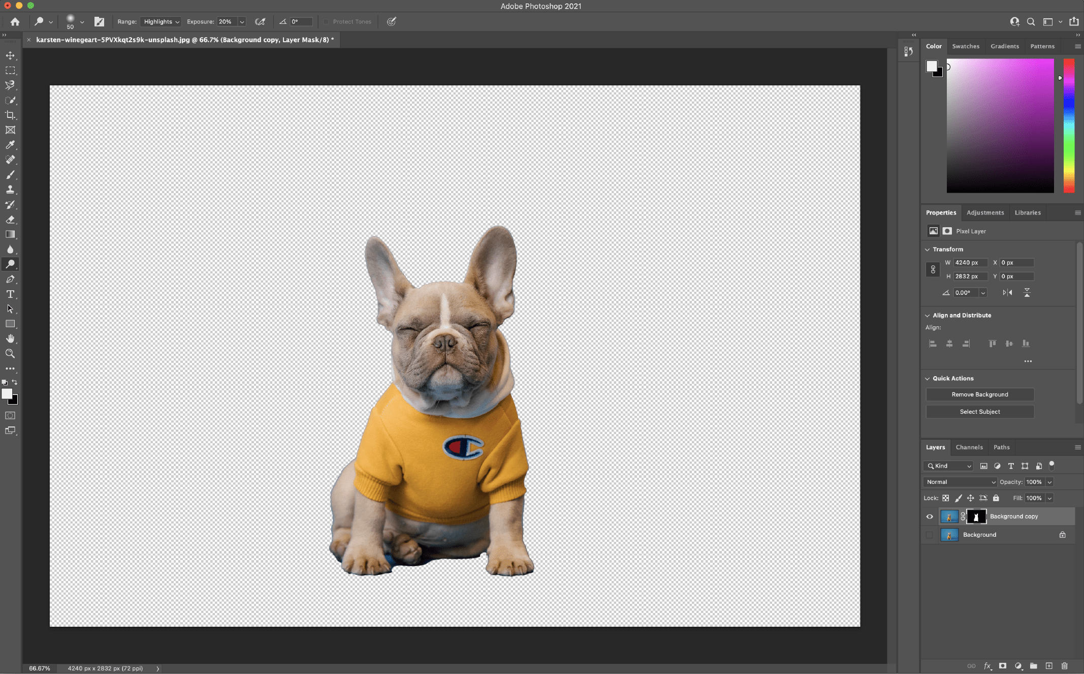 Remove Background in Photoshop using the Quick Action 2
