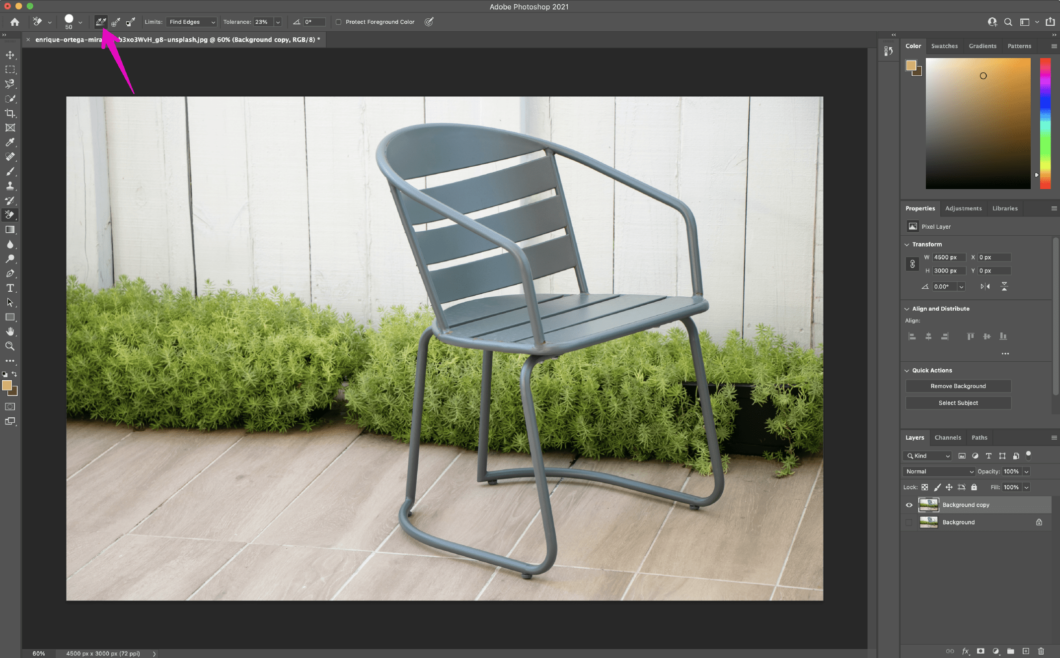 Remove Background in Photoshop using the Background Eraser Tool 2