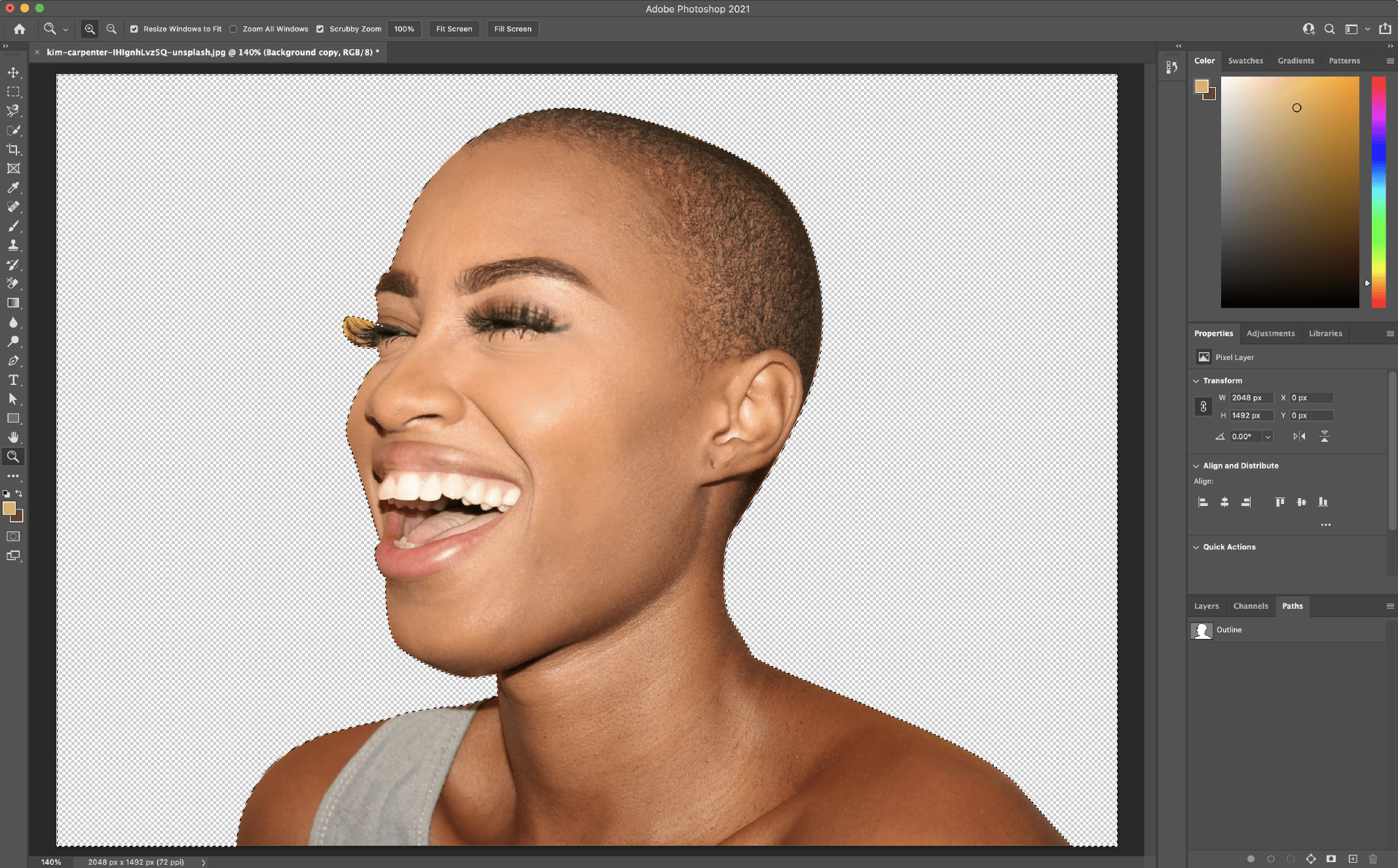 Remove Background in Photoshop using the Pen Tool 4