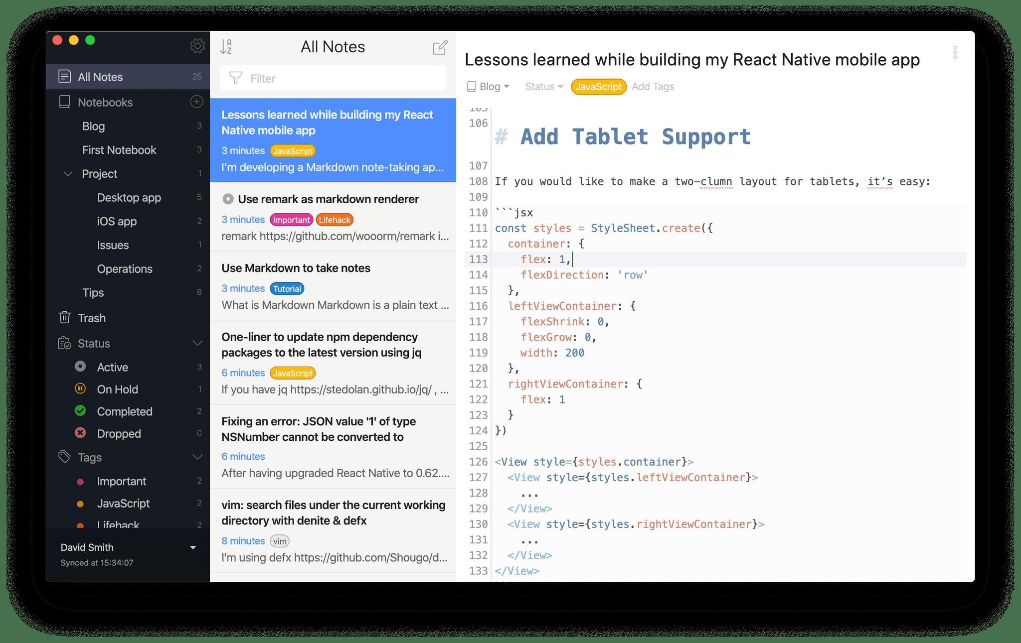 A screen shot of the Inkdrop editor
