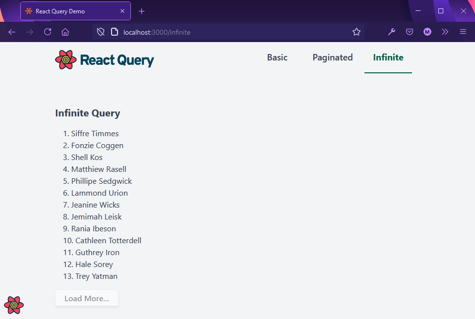 Infinite query page