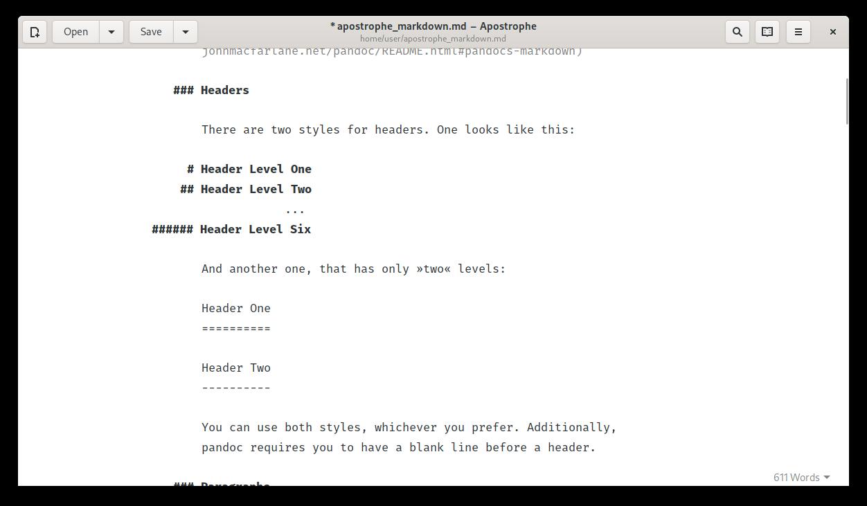 Apostrophe Markdown editor screenshot