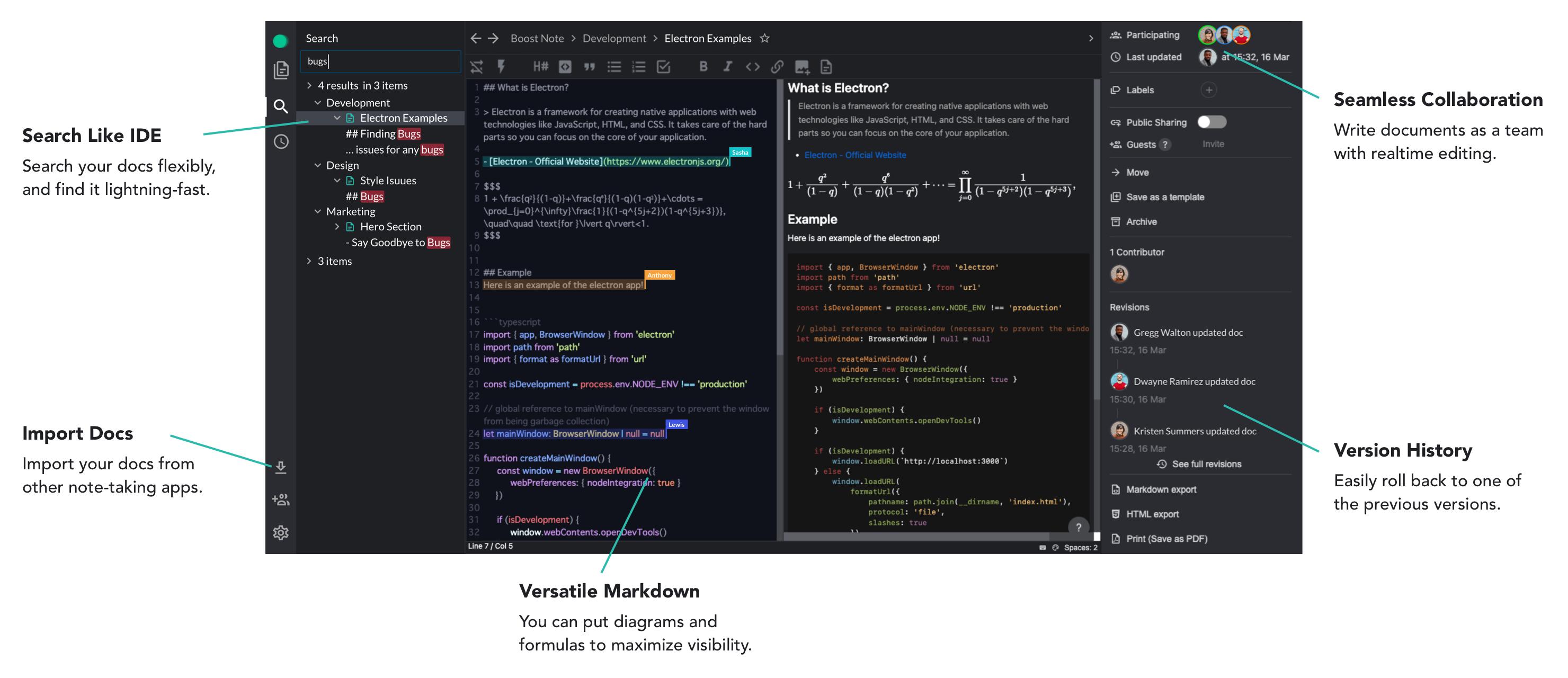 Boost Note Markdown editor screenshot