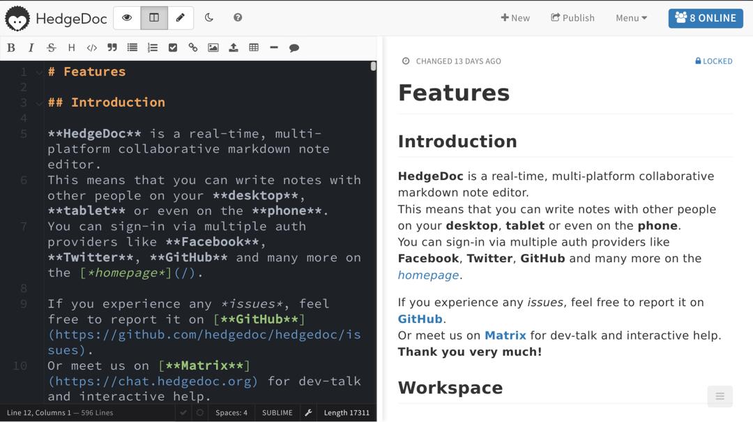 HedgeDoc Markdown editor screenshot
