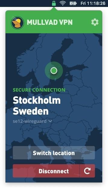 Screenshot of Mullvad