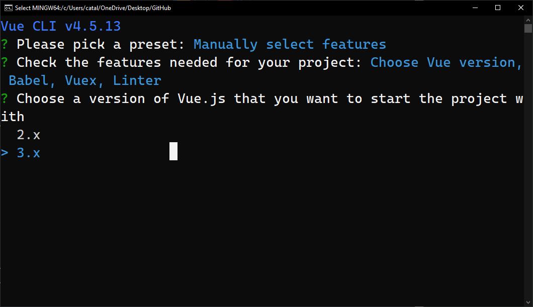 Figure 3: choosing a Vue version in Vue CLI