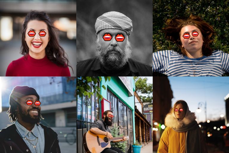 Six people with a mouth emoji as eyes