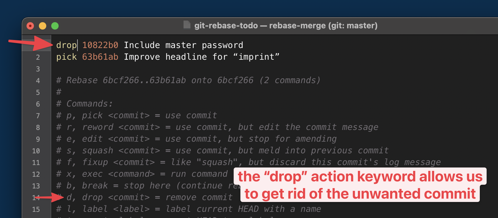 Marking the commit we want to delete