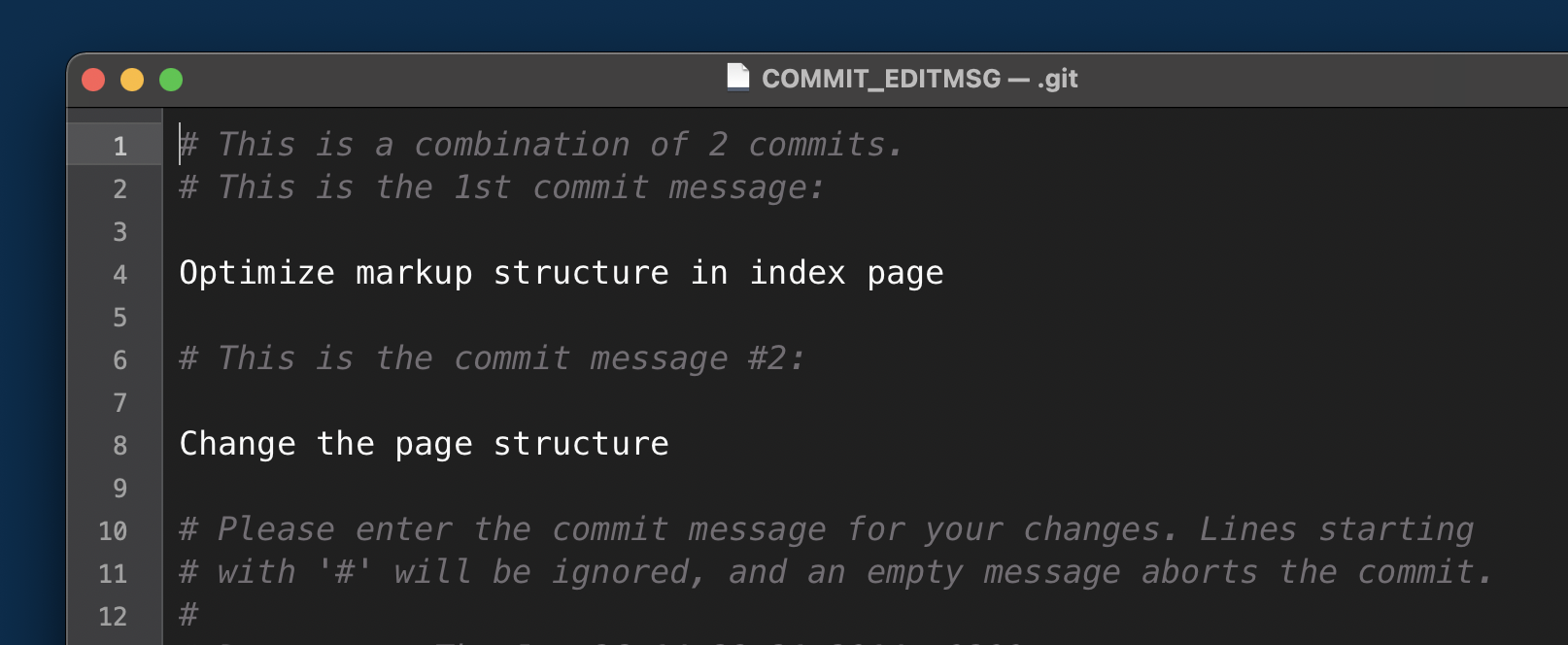 We can now provide a commit message for the new commit