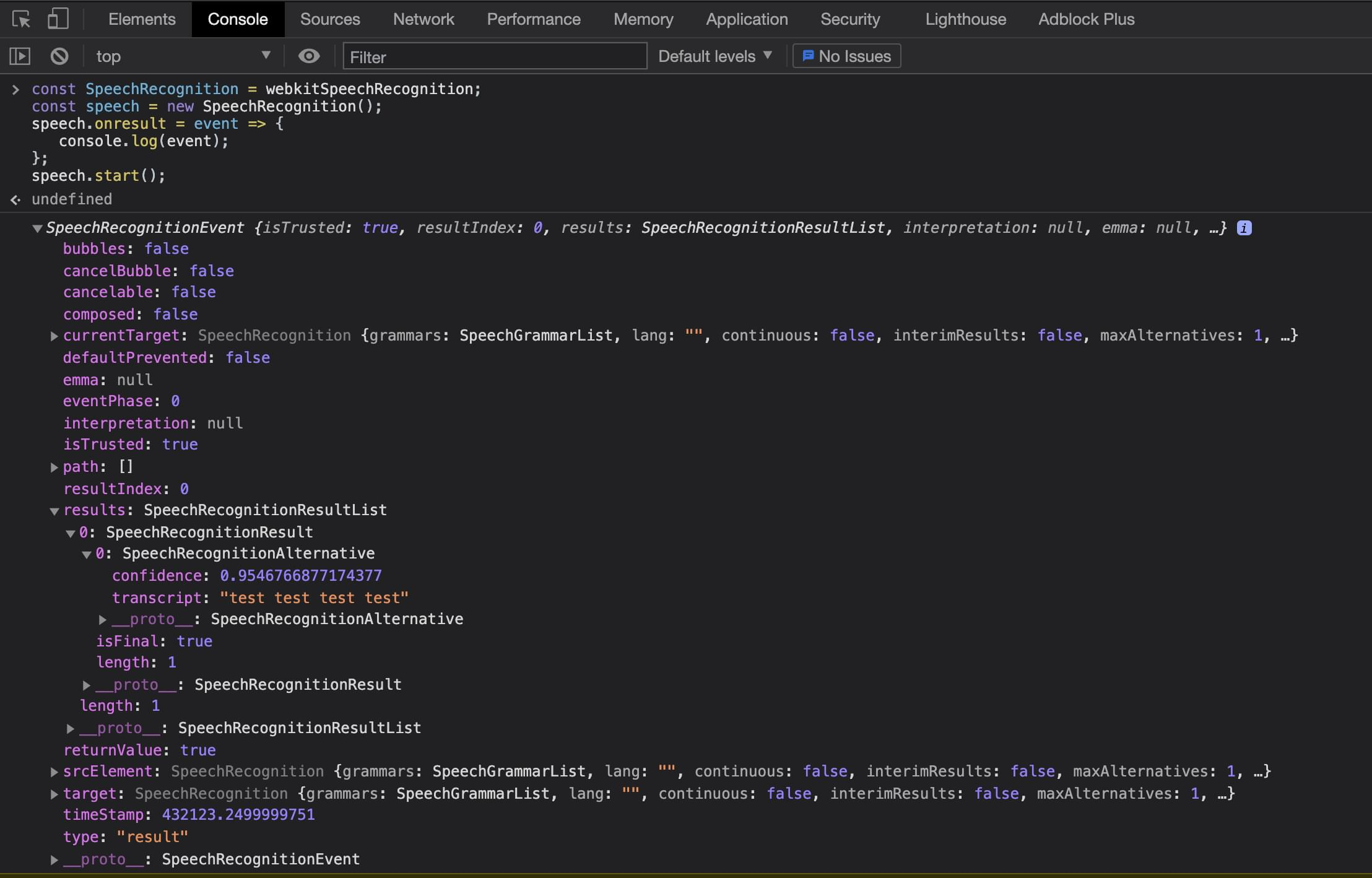 Browser devtools showing SpeechRecognitionResultList