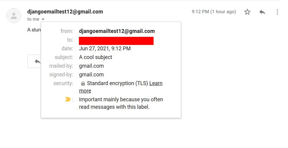 Django sent email
