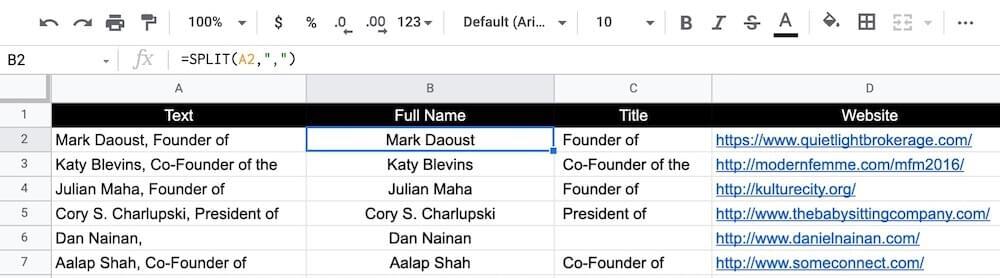 Separating names and titles using SPLIT formula