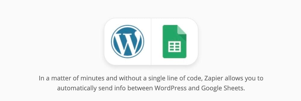WordPress and Google Sheets integration with Zapier