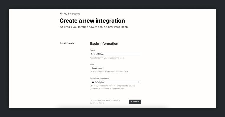 Notion API Create a new integration page