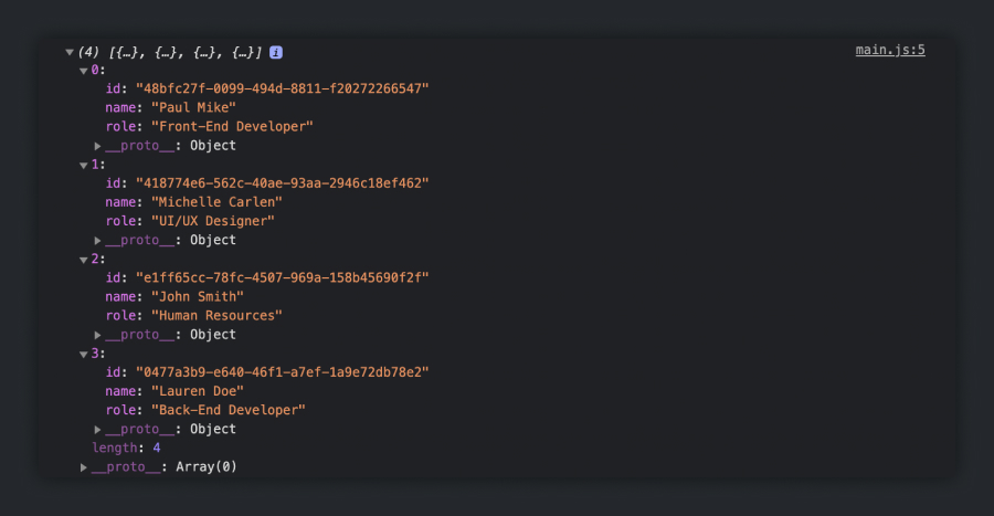 The console.log() of data inside getDataFromBackend()