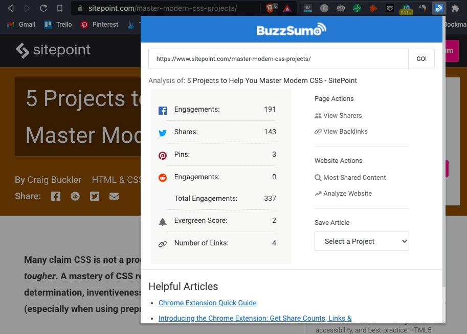 BuzzSumo extension