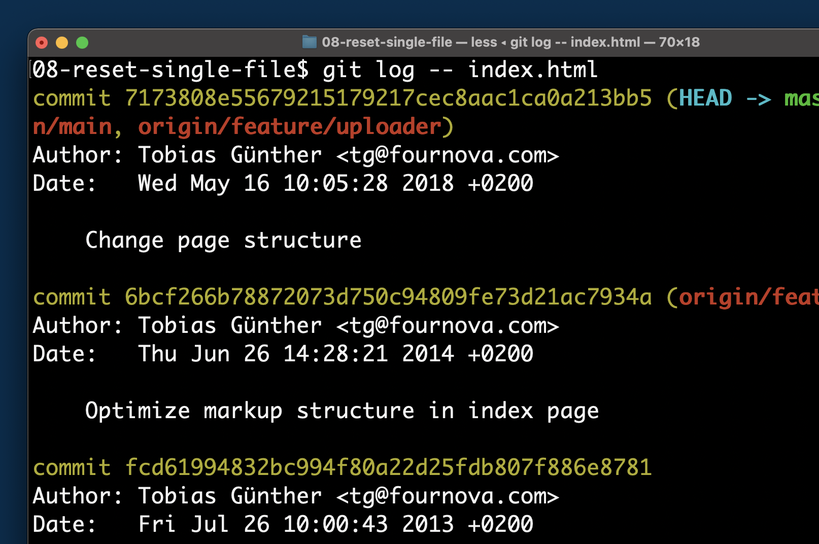 Inspecting the commit history of a specific file