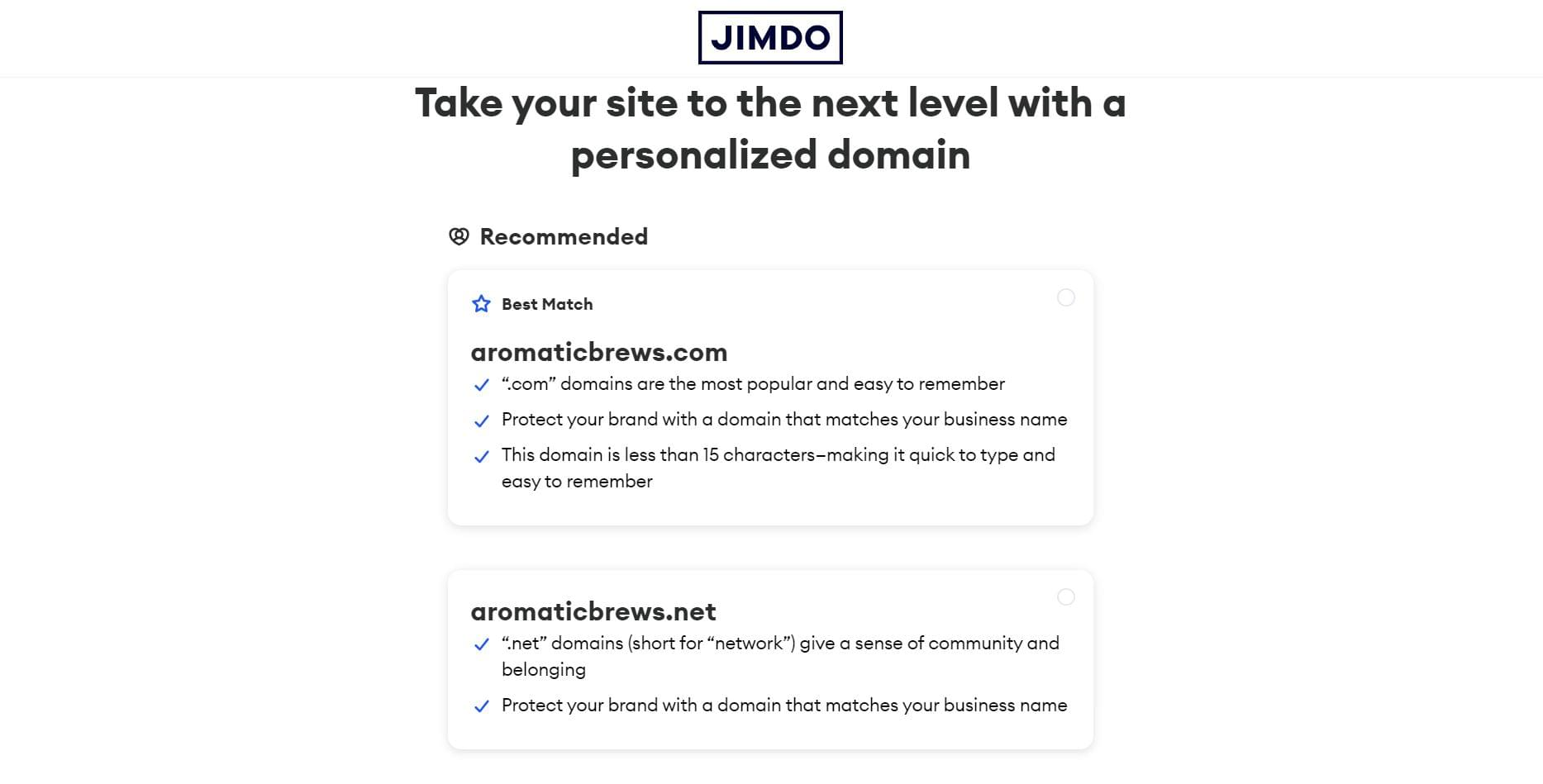 Choose a personalized domain