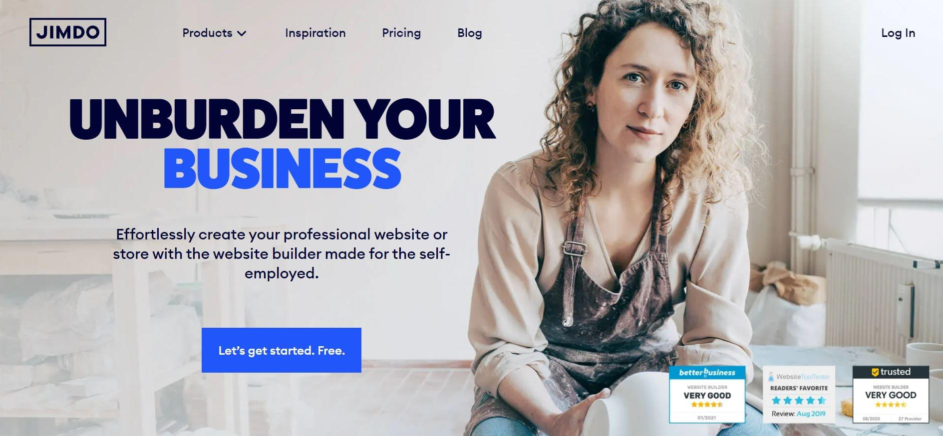 The Jimdo landing page