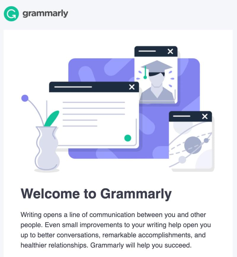 Welcome email example:Grammarly