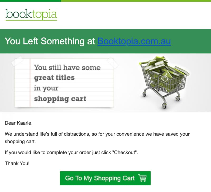 Abandoned cart email example: Booktopia