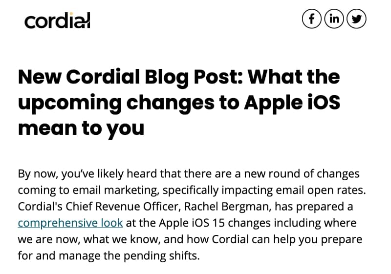 New blog post email example: Cordial